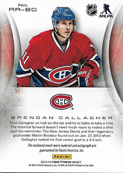 Brendan Gallagher Hockey Cards Value And Stats